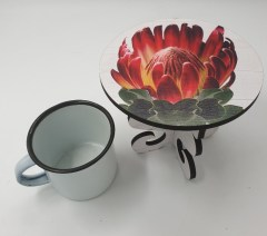 BURNT ORANGE PROTEA - MINI CAKE STAND Also as lrg stand