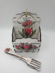 DUTCHESS PROTEA - 4DIV SCALLOP CUTLERY CADDY INCL. CUTLERY