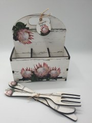 PINK BUNCH PROTEA - 6DIV CUTLERY SAUCE CADDY R145