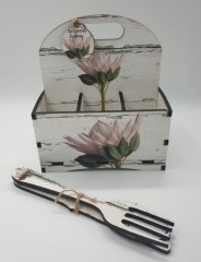 PINK KING PROTEA - CUTLERY SAUCE CADDY 6DIV R145